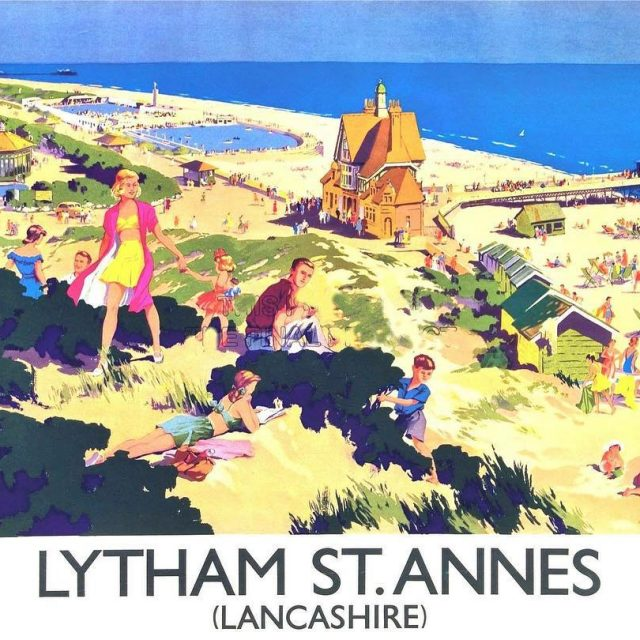 Lytham St Annes retro postcard featuring some of the olderhellip
